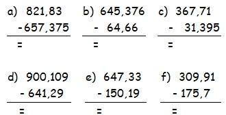 Soustraction De Nombres Decimaux Cm1